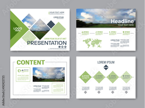 Set Of Presentation Layout Design Template For Powerpoint. Annual