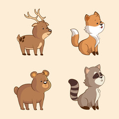 collection cute animal wildlife image vector illustration eps 10