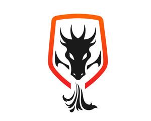 Modern Dragon And Shield Protection Logo