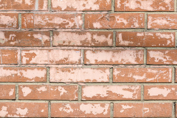 Texture of vintage wall of red brick as background