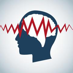 human head brain pulse care vector illustration eps 10