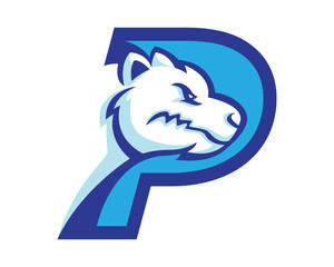 Modern Polar Bear P Letter Alphabet Sports Logo