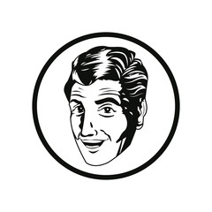 man comic style black and white vector illustration eps 10