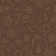 Seamless pattern on the theme of circus, simple contour icons, ,beige contour on brown background