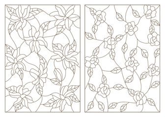 Set contour illustrations in the stained glass style, abstract flowers of roses and lilies, dark outline on a white background