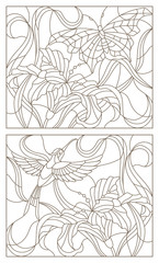 Set contour illustrations in the stained glass style butterfly and Hummingbird and Lily flower
