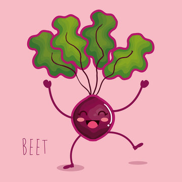 fresh beet vegetable character vector illustration design