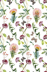 Carnation flowers, proteus and butterflies. Seamless pattern. White background. Watercolor hand drawn illustration.