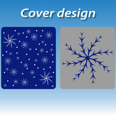 Cover design for print with blue snowflakes.
