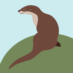 otter vector illustration style Flat side profile