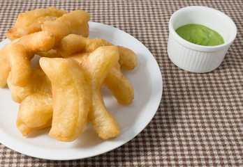 Delicious Deep Fried Doughstick with Green Custard Cream