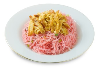 Thai Red Fried Rice Vermicelli on White Background