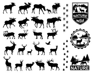 Set of Horned Animals Silhouette Collection Deer Stag Moose Cervidae Elk