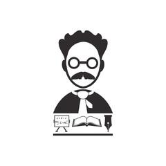 Professor vector icon. Education set.