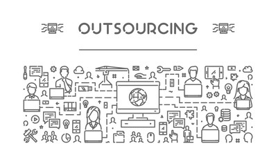 Vector line web banner for outsourcing