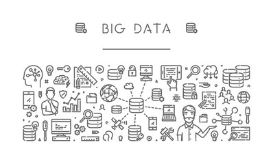 Vector linear banner for big data