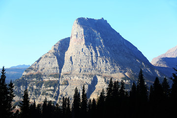 Wall Mural - Pointed Mountain Peak in Glacier National Park