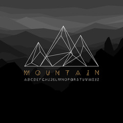 Mountain line icon, outline vector logo illustration, linear pictogram isolated on black. With thin line alphabet for your headline.