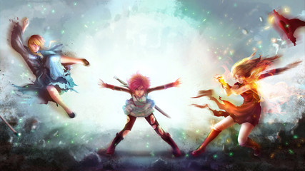 Cartoon illustration of a warrior girl blasting magic power attack to women witch and sorcerer in Japanese manga fantasy concept.