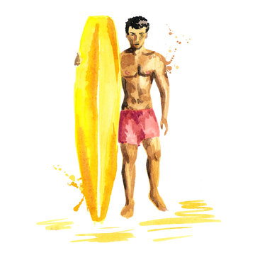Hand drawn isolated watercolor sketch of surfer man wiht the board