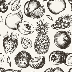 Seamless Pattern Fruits - vector modern hand drawn seamless pattern.
