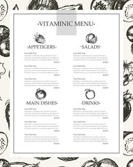 Vitaminic Column Menu - vector modern hand drawn template