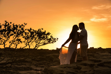 Bride and groom kissing on the beach at sunrise