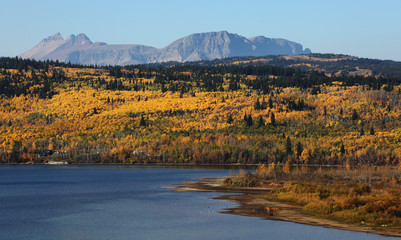 Wall Mural - St. Mary River and Mountains in Glacier National Park with Fall Colors