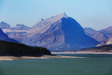 Wall Mural - St. Mary River and Mountains in Glacier National Park