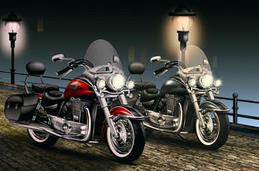 schweres Motorrad, Bike  abends in der Altstadt