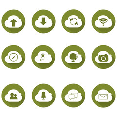 Cloud icon set, each icon is a single object (compound path). simple cloud computing icons set, eco icon series
