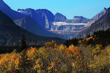 Wall Mural - Glacier in Mountains of Glacier National Park with Fall Colors