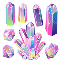Wall Mural - Gems, crystals isolated vector