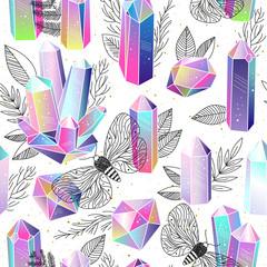 Wall Mural - Gems, crystals seamless pattern vector