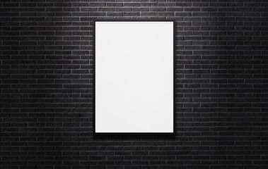 Blank advertising billboard on the black brick wall background with copy space