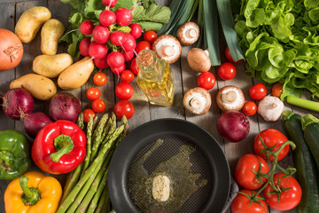 Healthy vegetable with a pan
