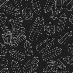Wall Mural - Gems, crystals black and white pattern vector