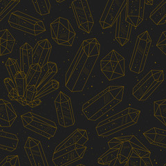Gems, crystals black and golden pattern vector