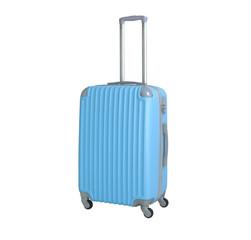 One suitcase isolated on white background. Polycarbonate suitcase isolated on white. Blue suitcase.