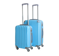 Two suitcases isolated on white background. Polycarbonate suitcases isolated on white. Blue suitcases.