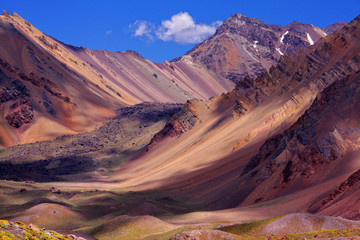Colored mountains on the way to the summit of Aconcagua