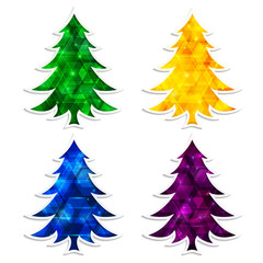 Colorful and glowing Christmas trees isolated on white background