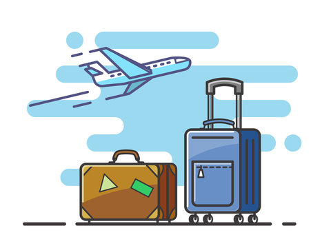 airplane and suitcase travel