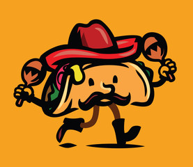 vector of taco dancing