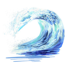 Wall Murals Abstract wave Watercolor hand drawn ocean falling down wave