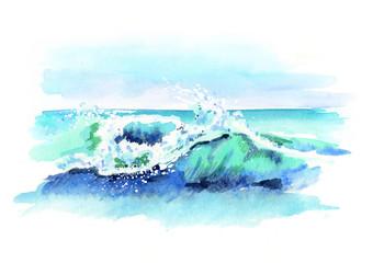 Watercolor hand drawn ocean wave