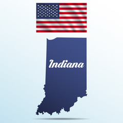 Indiana state with shadow with USA waving flag