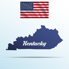 Kentucky state with shadow with USA waving flag