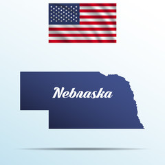 Nebraska state with shadow with USA waving flag