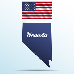 Nevada state with shadow with USA waving flag